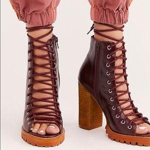 NWOB Free People Palermo Heels wine leather shoes